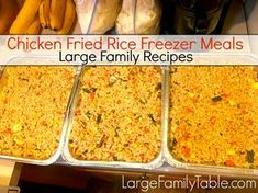 """Chicken Fried Rice Freezer Meal Oh boy, you're going to have to try my mad scientist plan for having several pans of Chicken Fried Rice (or """"any meat"""" Fried Rice) in the freezer and ready-to-go for large family dinners! Over the last few months, this has become a requirement in my freezer stash. The way … Budget Freezer Meals, Make Ahead Freezer Meals, Freezer Cooking, Easy Meals, Freezable Meals, Freezer Hacks, Bulk Cooking, Cooking Rice, Inexpensive Meals"""