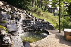 #landcape #architecture #garden #resting #place #water #feature #cascade #bench #meadow