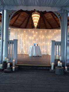 Andrea and Allen- ceremony decor at the Grand Gazebo. Got Married, Getting Married, Destination Wedding, Wedding Venues, Twinkle Lights, Ceremony Decorations, Receptions, Event Planning, Gazebo