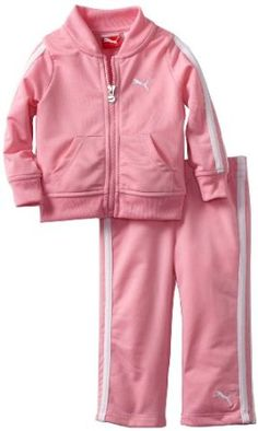 Puma - Kids Baby-girls Infant Tricot Track Jacket And Pant Set, Pink, 24 Months PUMA. $18.50