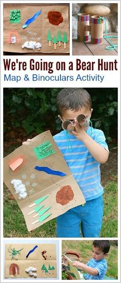 Retelling Activity for Kids: We're Going on a Bear Hunt- Make a map and binoculars and go on an adventure while retelling a popular children's book! Perfect imaginative play activity for preschool and kindergarten. Can be done inside our outside too! Retelling Activities, Map Activities, Summer Activities, Toddler Activities, Learning Activities, Outdoor Activities For Preschoolers, Music Activities For Kids, Fun Learning, Teaching Reading