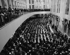 Dedication ceremonies in 1973 attract a standing-room-only crowd to the World Trade Center.