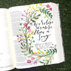 Started ' e-votional today! Loved digging in to what it means to truly worship God. Bible Journaling For Beginners, Bible Study Journal, Scripture Study, Bible Art, Bible Drawing, Bible Doodling, Faith Bible, Bible Scriptures, Bibel Journal