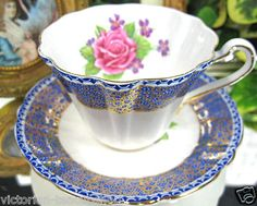 Gladstone Handpainted Tea Cup and Saucer~ Sarah's Country Kitchen ~ Coffee Cups And Saucers, Teapots And Cups, Cup And Saucer Set, Tea Cup Saucer, Tea Cups, Vintage Cups, Vintage Tea, Victorian Teacups, Rose Tea