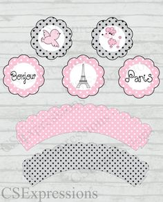 Paris Poodle Cupcake Toppers and Wrappers by CSExpressions on Etsy