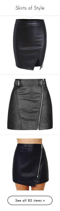 """""""Skirts of Style"""" by alexaluc17 ❤ liked on Polyvore featuring skirts, bottoms, gonne, black, short skirts, sexy skirt, short bodycon skirt, body con skirt, pu skirt and saias"""