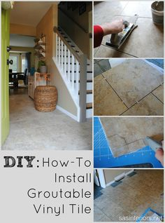 Do It Yourself: How To Install luxury vinyl tile that you can grout.  It looks JUST LIKE CERAMIC tile and can be installed in ONE DAY! Plus it's durable and affordable. #LowesCreator #LowesCreativeIdea @Jenna_Burger via sasinteriors.net