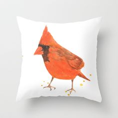 red bird, cardinal, male cardinal, bird painting, watercolor birds, gift for bird lover Throw Pillow by Eastwitching - $20.00
