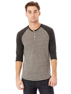 107fc1b0 Alternative Men's Raglan Three-Quarter Sleeve Henley Shirt Price:$10.72  Alternative Outfits, Alternative