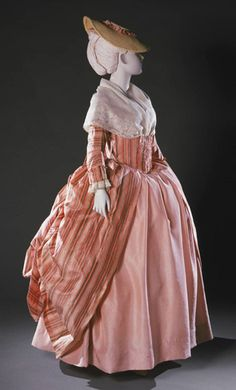 Robe à la française (worn à la Polonaise) with Attached Stomacher: ca. French, silk taffeta woven with shaded stripes, bodice and sleeves lined with linen, cuffs lined with wool flannel, stitched in silk thread. Held at the Philadelphia Museum of Art. 18th Century Dress, 18th Century Costume, 18th Century Clothing, 18th Century Fashion, Vintage Gowns, Vintage Outfits, Vintage Fashion, Vintage Hats, Historical Costume