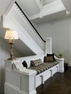 Michael Abrams and dSpace Studio Redo an Astor Street Mansion - Chicago Home + Garden - Winter 2012 - Chicago Foyer Decorating, Interior Decorating, Demis Murs, Traditional Staircase, Built In Seating, Wall Seating, Banquette Seating, Hygge Home, Loft