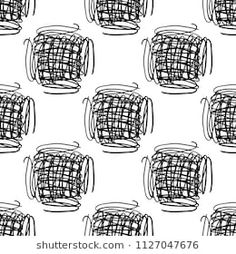 Vector seamless pattern with brush stripes and strokes. Black color on white background. Hand painted plaid texture. Ink geometric elements. Fashion modern style. Endless fabric check print.