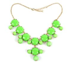 Eozy Clearance :Green Round Ball Bubble Golden Plated Alloy Adjustable W/ Clasp Chains Bib Necklace