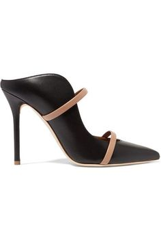 Heel measures approximately 100mm/ 4 inches Black and beige leather Slip on Made in Italy