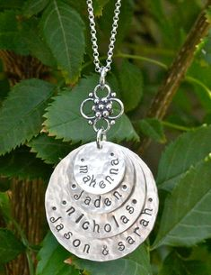 4-Disc Stacked Hand Stamped Necklace (ALL SILVER), Personalized Mom Jewelry, Grandma Jewelry, Family Jewelry