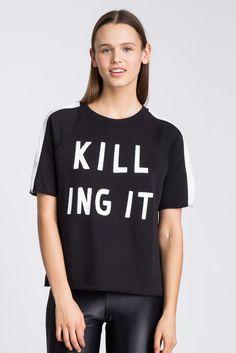 Rare! ZOE KARSSEN KILLING IT SWEATSHIRT Short Sleeve Pullover Top S NWT Tee #ZoeKarssen #KnitTop #Any