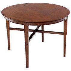 John Stuart Mid-Century Modern Walnut Round Side Table