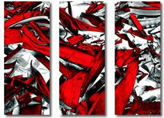 red black white grey abstract canvas art by Sam Freekadelah of Didgi Widgi