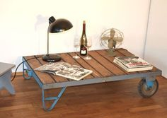 Vintage Rollwagen als Tisch / vintage table, industrial by zeitlos-design via…
