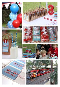 Cute ideas for a choo choo party:  love the milk with straw and cookies wrapped as part favors