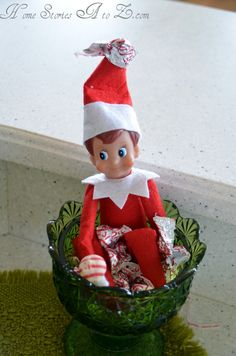 That's it! I'm getting me an Elf-on-the-Shelf! I just have too many ideas I want to try! Elf on the Shelf in the candy bowl