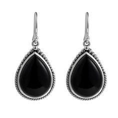 Najo Sterling Silver Black Agate Teardrop Earrings