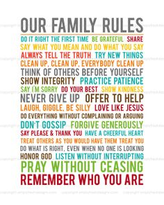 Family Rules Subway Art Instant Download by simplyfreshdesigns