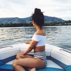 off the shoulder lace swim top, high waisted striped bikini bottoms