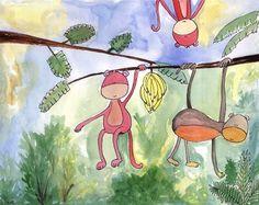 Monkey around watercolor
