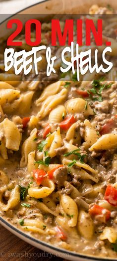 Casserole Recipes, Pasta Recipes, Cooking Recipes, New Recipes, Stuffed Shells Recipe, One Pot Meals, Easy Meals, Ground Beef Recipes, Beef Dishes