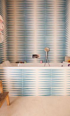 Patterned tile on tub walls & face | Bathrooms