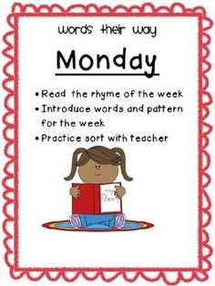 Words Their Way Posters for the Week.Display to help students with the daily expectations for their WTW sorts.It is on Powerpoint- so you can insert text boxes to edit it to fit your needs. First Grade Spelling, Spelling For Kids, First Grade Words, First Grade Phonics, Teaching First Grade, First Grade Reading, Spelling Words, Teaching Reading, Spelling Centers