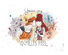 You're My Achilles Heel 8x10 Print Hercules and Megara by TeancaNicola