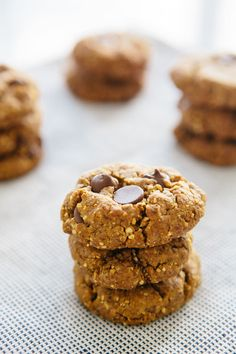 Peanut Butter Chocolate Chip Flour-less Cookies. These are also vegan!