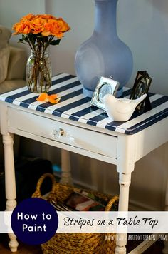 How To Paint Stripes On A Table: Blue and White Striped Table