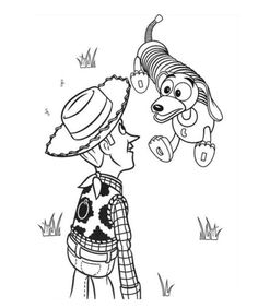 woody and slinky dog toy story coloring page
