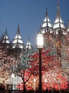Salt Lake Temple and the lights on Temple Square - turned on the day after Thanksgiving until Dec 31.