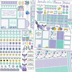 Lavender Mint Printable Planner Stickers Bundle Planner.  Foxes, Hedgehog,  Weekend Banners, Titles, Icons and more  #lavender #mint #gold #planner #decoration #stickers #organization #printable #digiscrapdelights #pomplanner #cute #digital #cleaning #hedgehog #watercolor