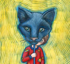 Boy with a Black Cat Mask  kids wall storybook art by EyaClaire, $20.00