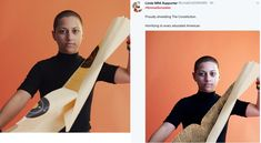 """A doctored animation of Parkland shooting survivor Emma Gonzalez ripping the US Constitution in two went viral on social media.  """"#EmmaGonzalez Proudly shredding The Constitution. Horrifying to every educated American.""""  ~ @LindaCo03364065  [Image description: The left frame is an original image of Emma Gonzalez tearing up a bullseye used for target practice. The right frame is a Photoshopped image of her tearing up the US Constitution.]"""