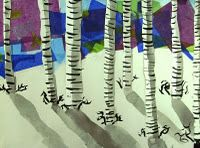 awesome birch trees...using separate strips of paper for the trees, rather than using tape to mask them off...looks fun :) Tissue paper sky...adhere with modge podge