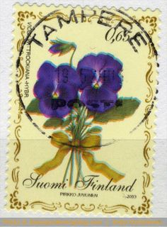 Garden Pansy on Finland postage stamp