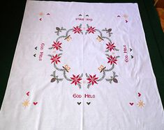 Swedish Christmas linen white vintage square tablecloth hand embroidery embroidered  Xmas table cloth cross stitch GOD HELG