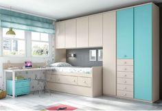 Dormitory juvenile of disseny / Youth bedroom design Box Room Bedroom Ideas, Small Room Bedroom, Kids Bedroom, Bedroom Decor, Small Bedroom Furniture, Single Bedroom, Kids Room Design, Dream Rooms, Girl Room