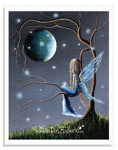 Fairy Art Print - Beautiful World Of Fairies. Sometime I wish I was her, dreaming of wonderful things as she looks off into the beautiful night.