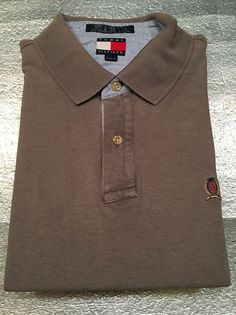 Vintage TOMMY HILFIGER  Golf Polo Shirt with Crest - Brownish Gray - Size XL #TommyHilfiger #PoloRugby