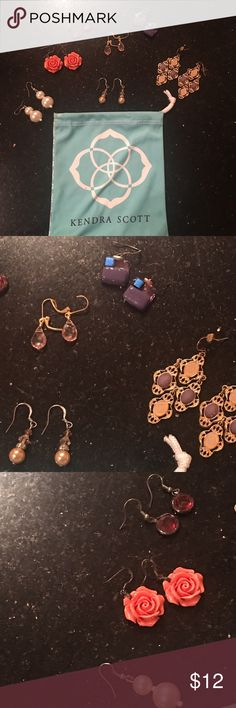 Bundle of 7 pairs of earrings Good condition just don't wear them anymore. Faux pearls, chandelier earrings, handcrafted sea glass (purple), faux gemstones (pink and maroon). Kendra Scott dust bag included!! Jewelry Earrings