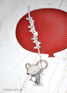 Kartenwind: Ziehkarte mit Riesenballon und Klartextstempel