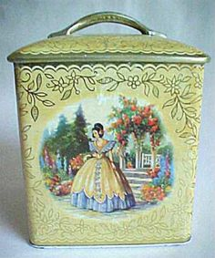 Highly collectable  vintage tea tin with crinoline lady
