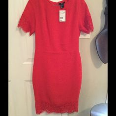 "New (with tags) Red H&M Lace Dress Gorgeous Red H&M Lace Red, New with tags, never worn, fits like a true size 8, I'm 5"", so it came just a few inches below my knees, excellent condition. H&M Dresses Midi"